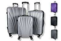 Rocklands Lightweight 4 Wheel ABS Hard Shell Luggage Set