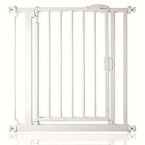 Safetots Barrière de sécurité À pression Fermeture automatique, 68,5 à 75cm, Blanc Étroit
