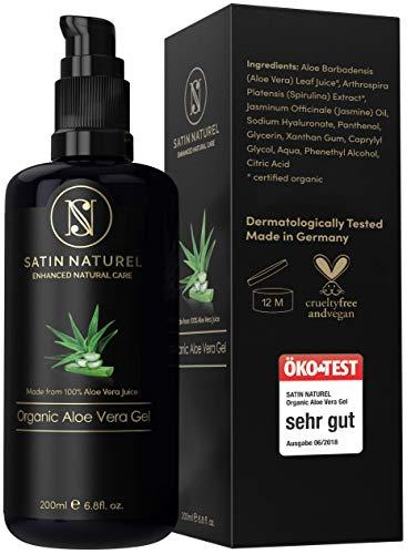 Gel d'Aloe Vera 100 % bio, pur et naturel - Gel hydratant naturel composé de 97 % d'Aloe Vera, pour le visage, le corps et les cheveux- Riche en vitamines et minéraux - Fabriqué en Allemagne - Pour cheveux abimés & peaux irritées - Vegan & cruelty-free
