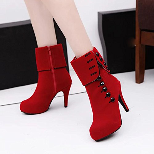 Transer® Damen Mokassins Frühling/Herbst Casual Schuh Sandelholz Kunstleder+Kunstleder (Bitte achten Sie auf die Größentabelle. Bitte eine Nummer größer bestellen. Vielen Dank!) Rot