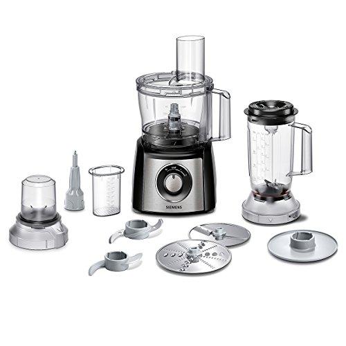 Siemens MK3501M Küchenmaschine, 800 W, 2,3 l Edelstahlrührschüssel, Mixeraufsatz, Universalzerkleinerer, schwarz/edelstahl gebürstet
