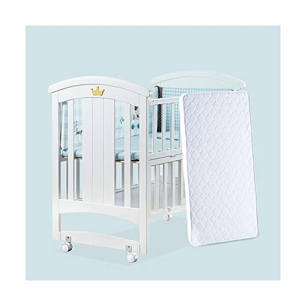 KLI Newborn Infant Crib Solid Harmless Paint Wood Baby Cradle Rocking Bed With Mattress,120 * 68 * 100Cm KLI Shipping list : crib,mat Size:120*68*100cm. Natural pine wood, harmless paint, polished and smooth, environmental wood, good for your baby 3 grade height adjustment: grade 1 (52cm from the floor)can be used for baby in 0-6 month, convenient to take out baby; grade 2 (38cm from the floor) for baby in 6-12 months and can stand independently;grade 3 (22cm from the floor) for baby in 1-3 years old. 4