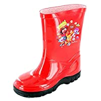 Boys Girls Kids Novelty Moshi Monsters Wellies Wellington Rain Boots UK10 Red