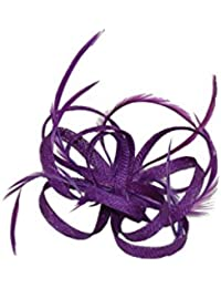 Sinamay Loops Fascinator / Corsage with Feather Tendrils Set on Hair Clip and Brooch Pin.