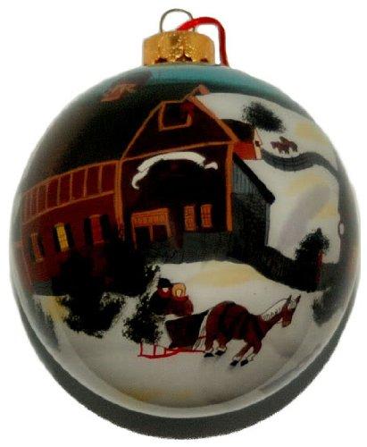 Hand bemalt Glas Ornament, Urlaub Szene co-130