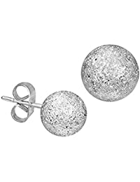 iJewelry2 Stainless Steel Silver Tone Stardust Sandblasted Bead Ball Stud Unisex Earrings 6mm