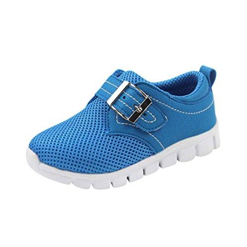 Unisex Sneaker Kleinkind Kinder, DoraMe Baby Mädchen Jungen Mesh Atmungsaktive Sportschuhe Sport Laufschuhe Solide Haken Schleife Turnschuhe für 4-13 Jahr (13 Jahr/Size(CN):37, Blau) (Mesh-größe Diagramm)