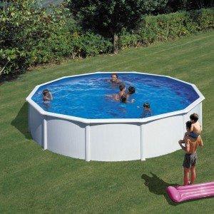 Ronde piscine hors sol Acier Blanc Ø 460 x 132 cm