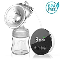 LuckLife Electric Breast Pump, Portable Breast Feeding Pumps Pain Free Strong Suction Power Touch Panel High Definition Display