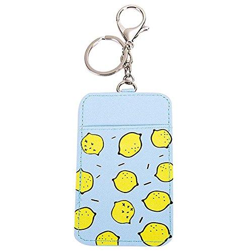 Demarkt Fahrausweishüllen Karten Schutzhülle Kreditkarten Personalausweis Hülle mit Schlüsselanhänger Zitroneform 11.6x7.3cm