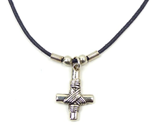 Ketten Halskette Petrus-Kreuz-Kette Leder Halsband mit Anhänger Gothic Punk Rock Evil Wear Skeleton Silver Necklace Petrus Cross für Sie und Ihn 5029
