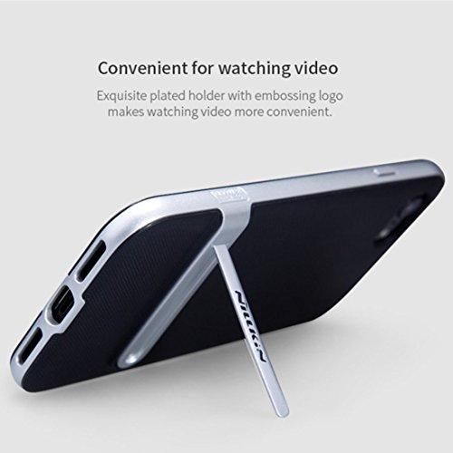 iPhone Case Cover NILLKIN Étui pour iPhone 7 Plus Concis Style Emboss Texture TPU + Étui protecteur pour PC Étui arrière avec support ( Color : Black ) Silver
