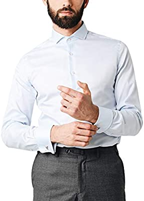 Scalpers Madrid Class DP Shirt - Camisa para Hombre, Talla , Color Celeste