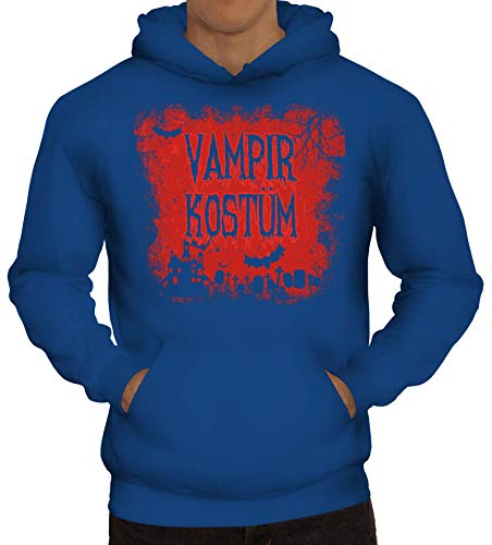 Vampir Royal Kostüm - ShirtStreet Halloween Fasching Karneval Gruppen Herren Hoodie Männer Kapuzenpullover Vampir Kostüm, Größe: S,Royal Blau