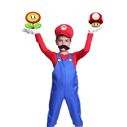 SurePromise One Stop Solution for Sourcing Super Mario Gr.M Klempner Kostuem mit Muetze Set Karneval Fasching Kostuem Kinderkostuem Fuer Jungen Maedchen