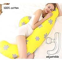 AFQHJ Pregnant women pillow waist side sleeping pillow, U-shaped soft detachable zipper odorless pregnancy pillow, adjustable pregnancy cushion (150cm × 40cm) (Color : A)
