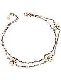 Glamorousky M-Peace Arbeiten Sie 18K Rose Gold überzogene Edelstahl Daisy Fußkettchen für Frauen (17210)