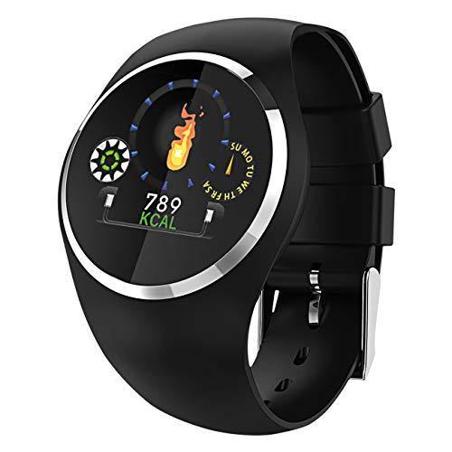 Fitness Tracker mit Herzfrequenz Blutdruck Schlaf Schritte Farbdisplay mit Animation Smartwatch Armband Uhr - 9703-7 Schwarz