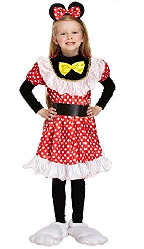 (Fancy Me Mädchen-Rot Minnie Mouse Tier Büchertag Woche Halloween Kostüm Kleid Outfit 4-12 Jahre - Rot, 4-6 years, Rot)