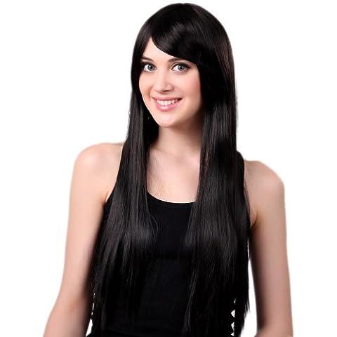 EOZY Pelucas Rectos Largas Con Flequillos Oblicuo Postizo Pelo Para Adultos Mujer De Fibra Color Negro 65cm