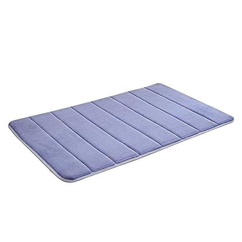 Pingenaneer Anti-Slip Kitchen Bathroom Mat Anti-Fatigue Comfort Coral Fleece Shower Rug 50 x 80cm(Navy