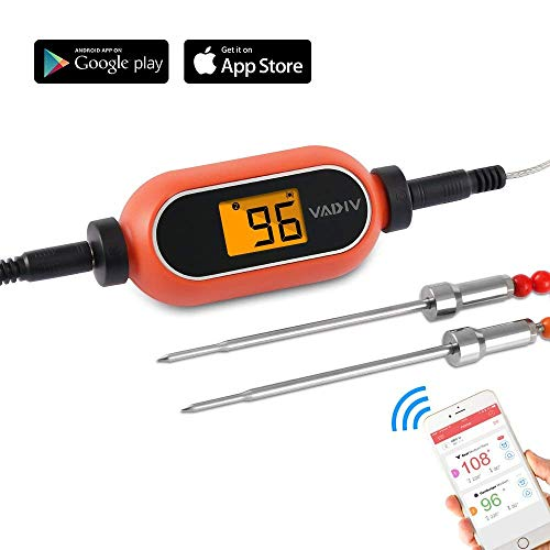 VADIV Wireless BBQ Thermometer, Digital Thermometer mit LCD-Bildschirm mit 2 Temperaturfühler für BBQ / Ofen / Kochen / Grill / Fleisch/ Milch - mit APP Android iOS