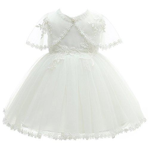 AHAHA TaufeKleider für Baby Mädchen Prinzessin Brautkleider Geburtstagsfeier-Kleid für Baby mit Hut und Tippet