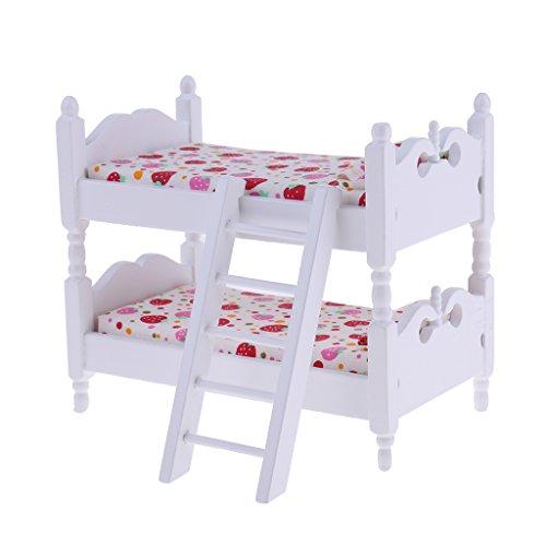 MagiDeal 1/12 Puppenhaus Kinder Schlafzimmer Möbel Miniatur Etagenbett Puppenzubehör - # Erdbeere - Kinder-möbel-etagenbetten
