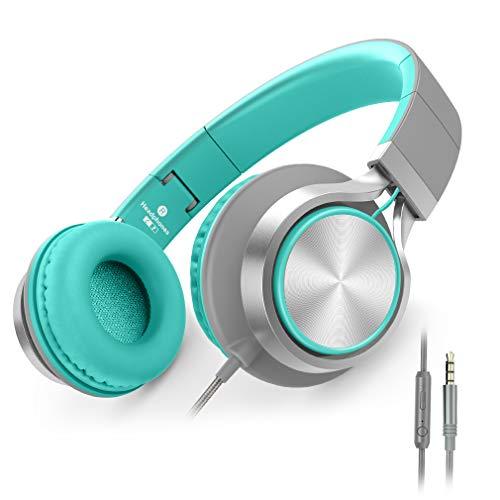 Ailihen C8 Kopfhörer leicht faltbar mit Mikrofon Lautstärkeregelung Musik Headsets 3,5mm für Smartphones PC Laptop Mac MP3 Tablet (Minzgrün) - Musik-smartphone