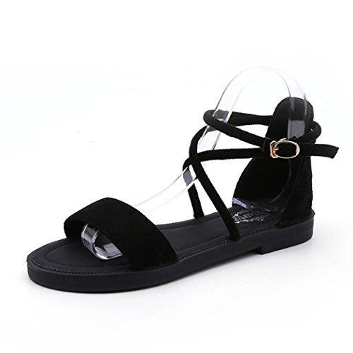 Fuibo Elegant Sandalette | Frauen Flachen Sandalen Kreuzgurte Offene Spitze Schnalle Niedrigen Ferse Sandalen Keil Sommer (38, Schwarz) (Ferse Niedrigen Keil-flach)