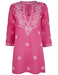 72697012a723 Ladies Deep Raspberry Pink Beach Kaftan Cover Up with White Hand Embroidery