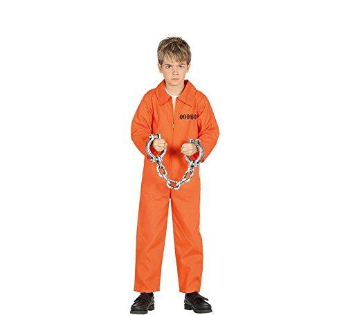 Guirca Sträfling Kostüm für Kinder Jungen Overall Gefängnis Gefangener Halloween Knasti Gr. 98-146, Größe:128/134