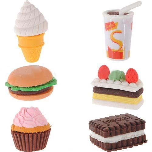 Water & Wood Assorted Food Novelty Cute Pencil Rubber Eraser Erasers Stationery Ice Cream Cake Kid Fun Toy
