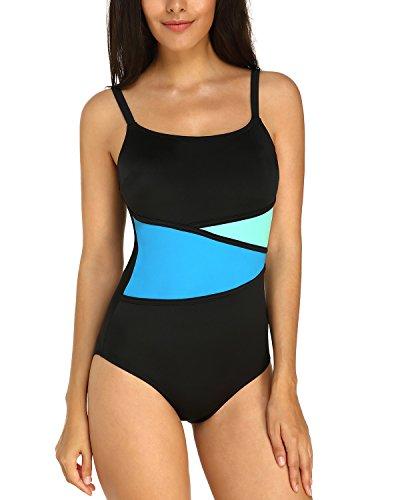 KISSLACE Badeanzug Damen Figurformend Einteilige Sportbadeanzug Frauen mit Körbchen Patchwork Badeanzüge Schwimmanzug Schwarz+Blau M=EU40