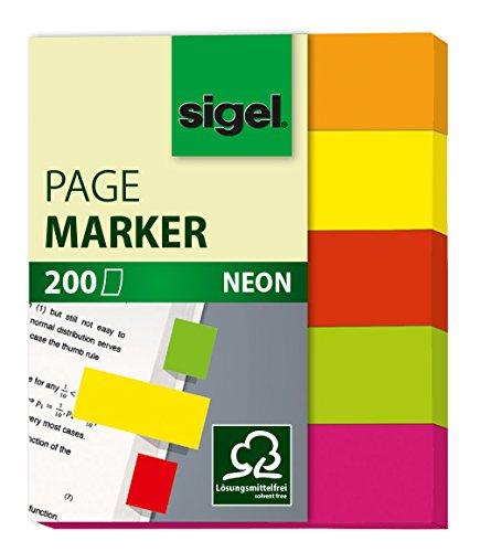 Sigel HN655 Haftmarker Neon, 5 Farben, 200 Streifen im Format 12 x 50 mm