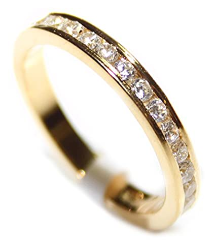 Ah! Jewellery. Women's Channel Set Most Sparkly Lab Diamonds Ring. Outstanding Quality Full Eternity Band. 18k Gold Over Sterling Silver 925