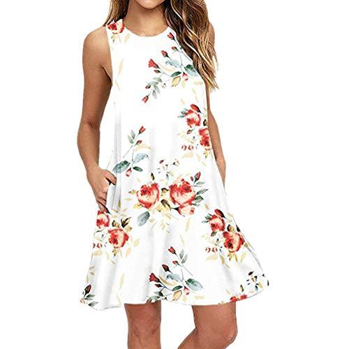 Yvelands Damen Beach Tank Kleid Sommer lässig ärmellos Bedruckt Swing Minirock Sommerkleid mit Tasche(White,XXL)