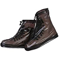 KEKEDA Funda Impermeable para Botas de Lluvia con Cremallera, Ciclismo Senderismo Cubiertas para la Lluvia Cubre Zapatillas Antideslizantes Ligeras Size XXXL (marrón)