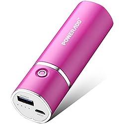 POWERADD Slim2 5000mAh Chargeur Portable Batterie de Secours Externe pour t¨¦l¨¦phone potable (Adaptateurs Apple Non Inclus) et D'autres Appareils Charg¨¦s Via USB 5V-Rose Rouge