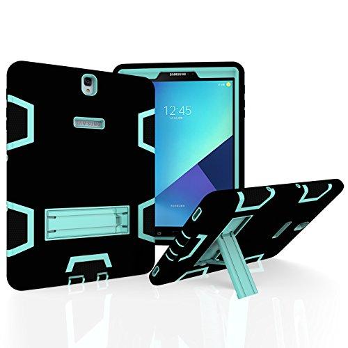 Beimu Schutzhülle für Samsung Galaxy Tab S3 9,7 Zoll (24,6 cm), Hybrid-Schutzhülle mit Ständer für Samsung Galaxy Tab S3 24,6 cm (SM-T820/SM-825) Black+Aqua