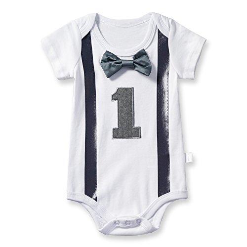 TTYAOVO Baby Jungen Mein Erster Geburtstag Fliege Bodysuit Romper Kleidung Outfits 1 Jahre Grau (Baby-jungen 1 Jahr-outfit)