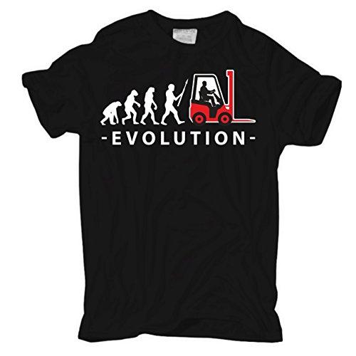 Männer und Herren T-Shirt Evolution Staplerfahrer Körperbetont schwarz