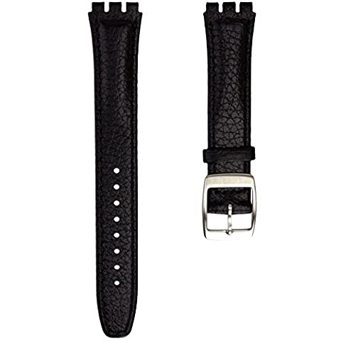 Geckota® Genuine Leather Watch Strap Designed for Swatch Watch, Black,