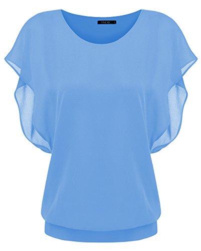 Zeagoo Damen Sommer Casual Loose Fit Kurzarm Fledermaus Batwing T-Shirt Shirt Chiffon Top Bluse, EU 38(Herstellergröße:M), Hellblau