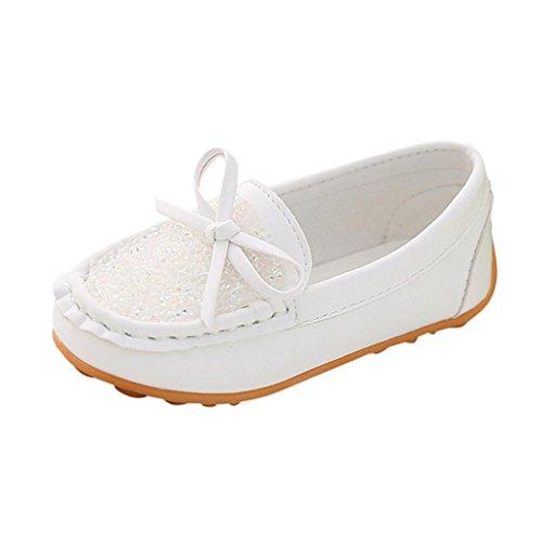 (FNKDOR Slipper Baby Mädchen Mokassin Prinzessin Casual Schuhe Kleinkind Kinder Sneaker Loafer (28, Weiß))