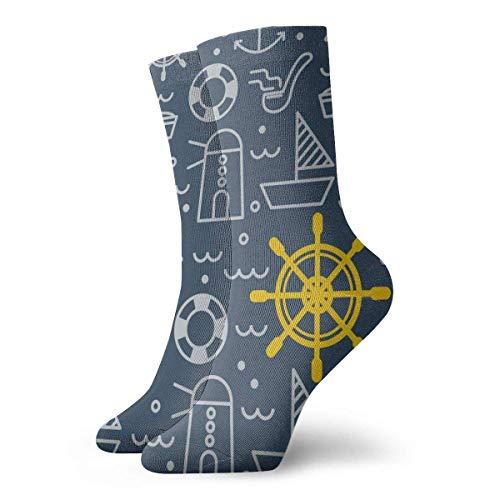 REordernow Kurze Socken für Männer, Frauen Blue Nautical Pattern Adult Short Socks Cotton Gym Socks for Mens Womens Yoga Hiking Cycling Running Soccer Sports -