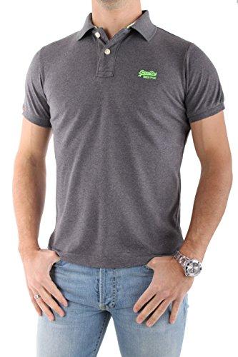 Superdry Herren Polo - Shirt in grau Logo in grün grau / grün