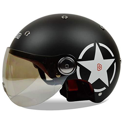 NJ Helm- Sommer Helm Motorrad Unisex Jahreszeiten Windproof Sonnencreme Half Helmet (Farbe : D, größe : L)