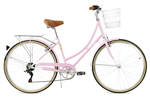 FabricBike Step City Damenfahrrad Amsterdam 28 Zoll Komfort Bike 7 Gang Hollandrad im Retro-Design (Candy Pink + Korb)
