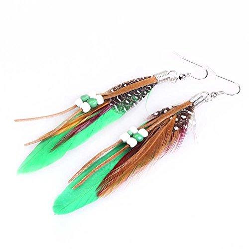 Aretes de pendiente - TOOGOO(R)1par de Aretes de pendiente de cuentas de plumas de India de estilo de Bohemia exotico de moda (verde)